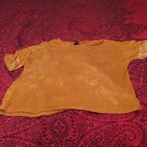Yellow tie dye short sleeve T-shirt